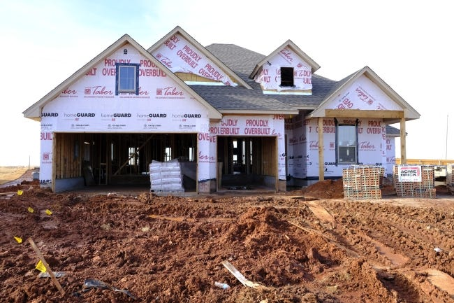 A house under construction by Homes by Taber at 13921 Limestone Lane in the Stoneridge Farms addition near Memorial and Morgan Roads. [DOUG HOKE/THE OKLAHOMAN]