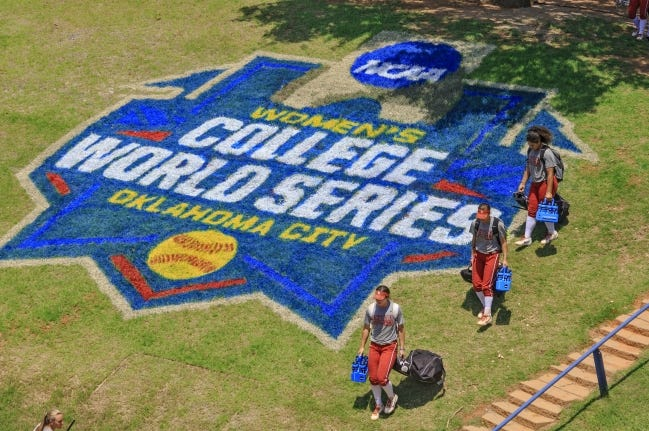 Hall of Fame Stadium underwent massive renovations and expansions over the past year, but the home of the Women's College World Series could be the home of the entire softball tournament this year. A bubble format like the one being used in Indianapolis for men's basketball could be replicated in the metro. [CHRIS LANDSBERGER/THE OKLAHOMAN]