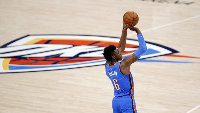 Thunder guard Hamidou Diallo shoots the ball in the first half of a 113-80 loss to the Pelicans on Dec. 31 at Chesapeake Energy Arena. [Sarah Phipps/The Oklahoman]