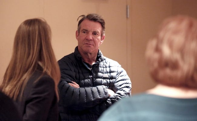 """Dennis Quaid talks with reporters on Jan. 12 on the set of the film """"I Can Only Imagine"""" at the Civic Center Music Hall in Oklahoma City. Quaid is playing the title role in the upcoming Oklahoma-made fact-based film """"Reagan"""" and returns to the Sooner State this year to co-star in the sports biopic """"American Underdog: The Kurt Warner Story."""" [Sarah Phipps/The Oklahoman Archives]"""