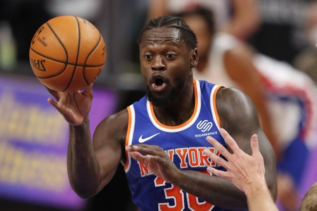 Julius Randle leads the Knicks in points, rebounds and assists. [Raj Mehta/USA TODAY Sports]