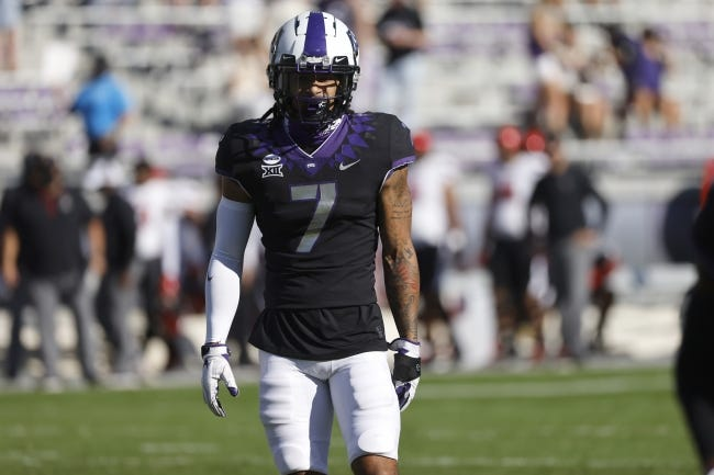 TCU safety Trevon Moehrig (7) looks on against Texas Tech during the first half of an NCAA college football game Saturday, Nov. 7, 2020, in Fort Worth, Texas. (AP Photo/Ron Jenkins)
