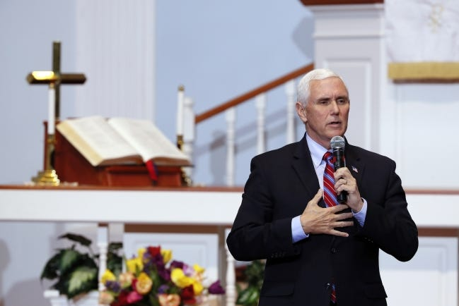 Vice President Mike Pence speaks May 8 during a discussion with local faith leaders in Urbandale, Iowa. [AP FILE PHOTO]