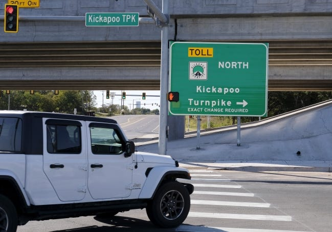 A vehicle turns off 23rd St to get on the north bound lanes of the Kickapoo Turnpike. The remainder of the Kickapoo Turnpike opened this week, creating a connection between Interstate 40 and the Turner Turnpike. [DOUG HOKE/THE OKLAHOMAN]
