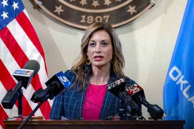 Shelley Zumwalt, executive director of the Oklahoma Employment Security Commission, speaks during a news conference last month. Zumwalt announced Friday that nearly 35,000 people were paid the newest round of pandemic unemployment benefits overnight. CHRIS LANDSBERGER/THE OKLAHOMAN]