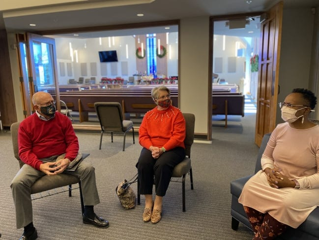 John Trent and his wife Janice listen as the Rev. Valerie Jones Steele talks about Quail Springs United Methodist Church's recent book and video discussion series on racism in the American Church. [Carla Hinton/The Oklahoman]