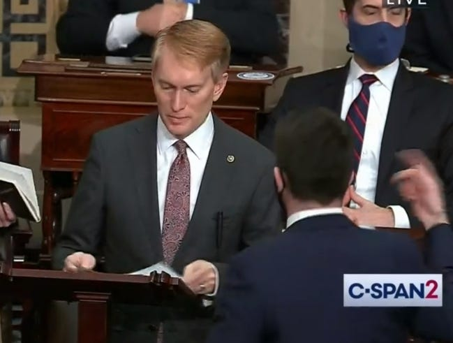This screen shot, from C-SPAN2, shows Sen. James Lankford speaking on the Senate floor on Jan. 6 just before police evacuated the Senate as rioters broke into the U.S. Capitol.