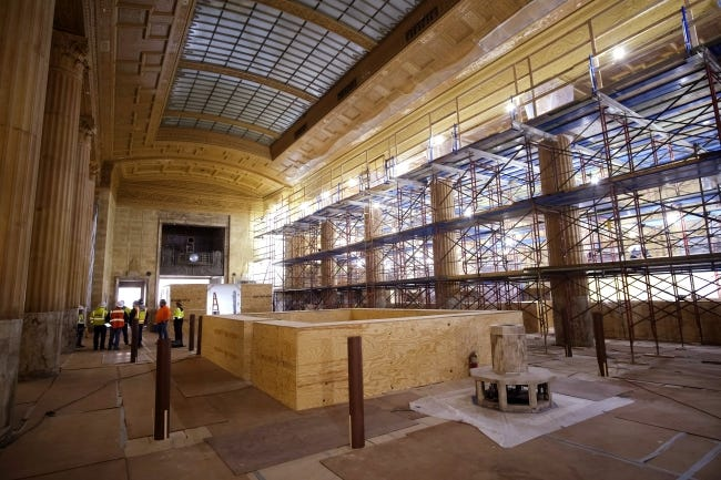 Scaffolding fills one side for access floor to ceiling in the Great Banking Hall of First National. [DOUG HOKE/THE OKLAHOMAN]