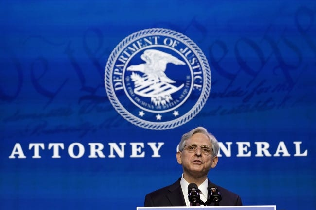 Attorney General nominee Merrick Garland speaks Thursday during an event with President-elect Joe Biden and Vice President-elect Kamala Harris at The Queen theater in Wilmington, Del. [AP Photo]
