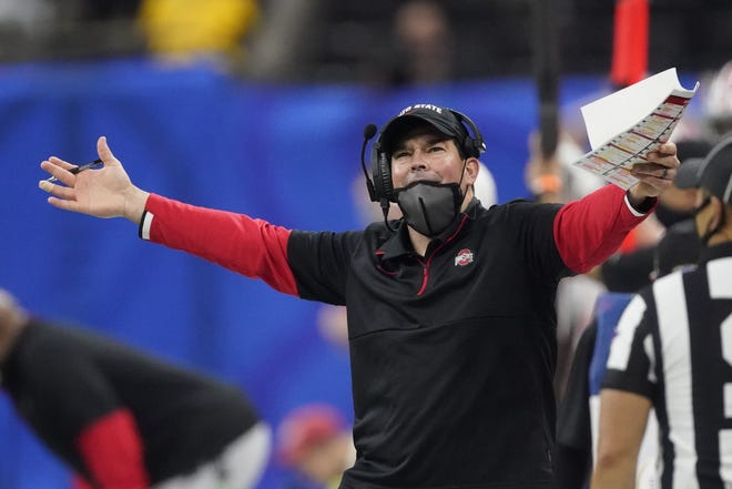 Ohio State football coach Ryan Day and his family have handled the pandemic-affected season the best they could. Day's Buckeyes will play Alabama on Monday night for the national championship. [AP Photo/John Bazemore, File]