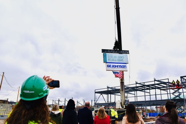 A recent topping out ceremony was held at The Well, which will become a health and wellness hub for Cleveland County. [PHOTO PROVIDED]