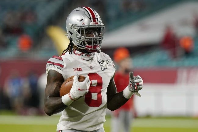 In eight games this season for Ohio State, Trey Sermon ran for 870 yards and four touchdowns, averaging 7.5 per carry. [AP Photo/Lynne Sladky]