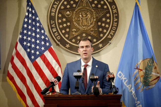 Gov. Kevin Stitt speaks during a press conference at the State capitol in Oklahoma City in December. [Sarah Phipps/The Oklahoman]