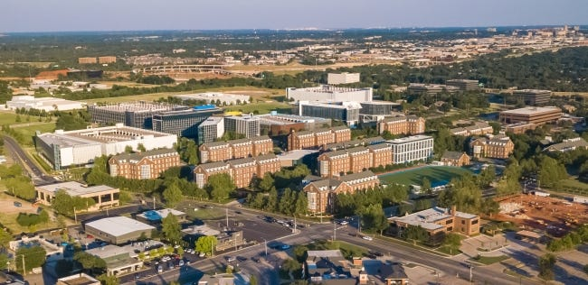 Drone image of Chesapeake campus with Nichols Hills Plaza and Whole Foods also shown. [THE OKLAHOMAN ARCHIVES]