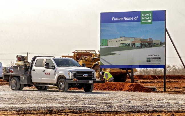 Crews have begun work on a 200,000-square-foot Mom's Meals kitchen and food prep center at 6849 S Rockwell Ave. The Iowa-based company said the first phase of the $17,750,600 plant will be complete by the end of the 2021. [CHRIS LANDSBERGER/THE OKLAHOMAN]