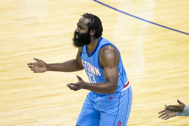 James Harden praised the Rockets for working with him to get him to his favored destination and said he regretted his comments that he said were out of character for him. [Mark Mulligan/Houston Chronicle via AP]