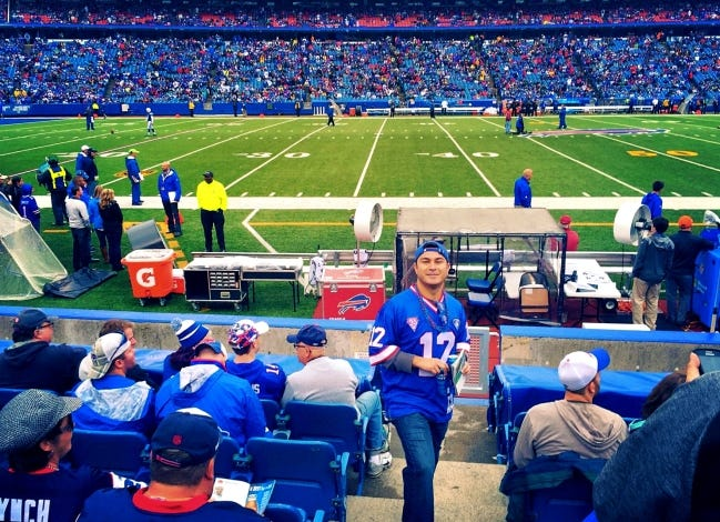 Carlos Cabrera has been a Buffalo Bills fan since childhood in El Paso, Texas. Now an ER doctor in Oklahoma, he was able to attend a game in Buffalo in 2015 and would've been there last week for the Bills' playoff game, but COVID protocols kept him home. [PHOTO PROVIDED]