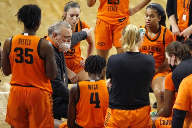 Oklahoma State coach Jim Littell talks with his team during the Bedlam women's game in December. [Bryan Terry/The Oklahoman]
