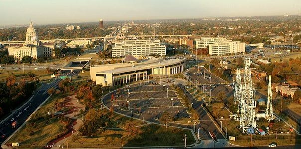 An aerial view is shown of the grounds of the Oklahoma History Center in Oklahoma City. [OHS]