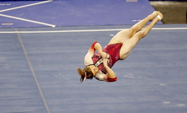 OU's Anastasia Webb performs in the floor routine during a meet against Arizona State on Jan. 10 at Lloyd Noble Center in Norman. [Sarah Phipps/The Oklahoman]