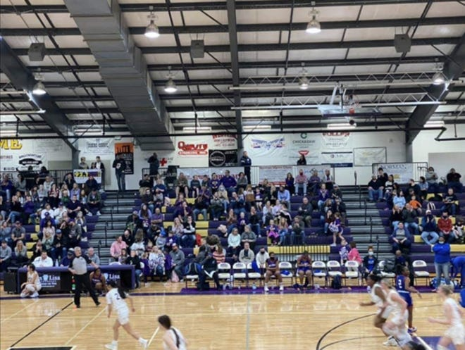 Photos taken by Millwood superintendent Cecilia Robinson-Woods of Community Christian's crowd Friday night. Robinson-Woods cited health and safety for Millwood's student-athletes and families for pulling the basketball teams.