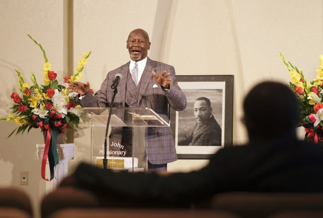 Sen. George Young, D-Oklahoma City, a retired Baptist minister, preaches on Sunday at St. John Missionary Baptist Church in Oklahoma City. [Doug Hoke/The Oklahoman]