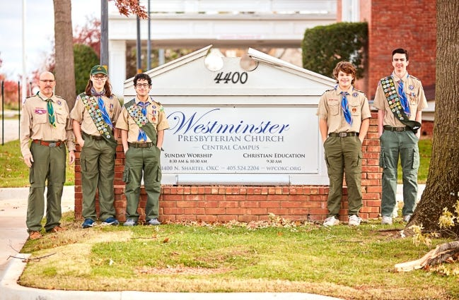 Pictured from left are Scoutmaster Jeff Love and Eagle Scouts Jacob Love, Samuel Shadid, Hank Garrett and Daniel Yeaman. [PHOTO PROVIDED]