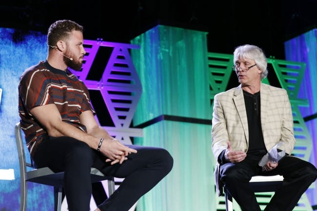 Detroit Pistons forward Blake Griffin answers questions from the audience and The Oklahoman's Berry Tramel during the All-City high school awards banquet on June 3, 2019 in Oklahoma City. [Paxson Haws/The Oklahoman]