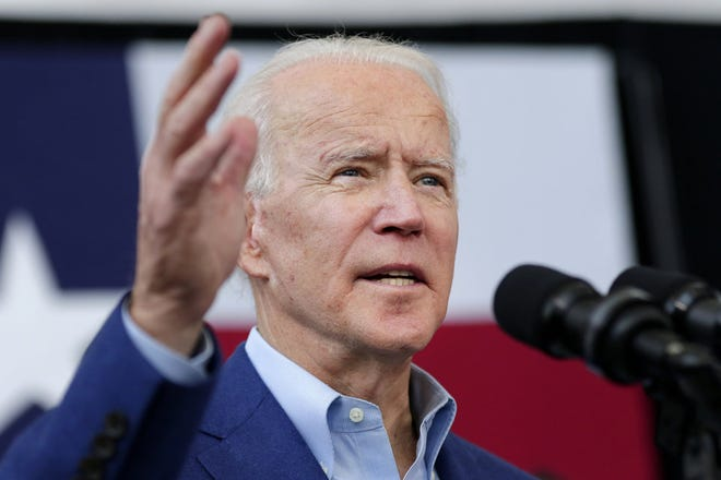 Democratic presidential candidate former Vice President Joe Biden speaks during a campaign rally Monday, March 2, 2020, at Texas Southern University in Houston. (AP Photo/Michael Wyke)