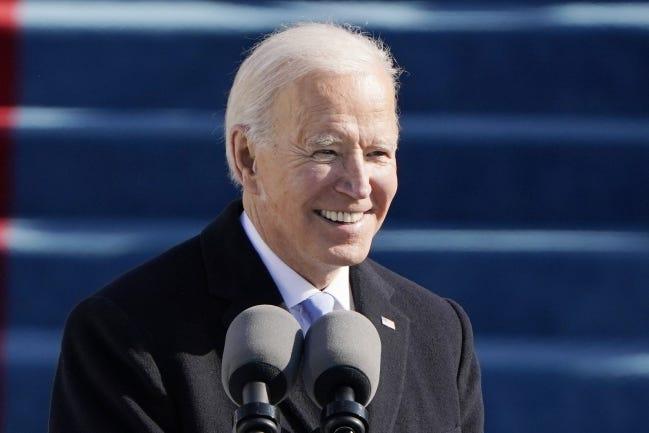 President Joe Biden speaks during his inauguration Wednesday. [AP Photo/Patrick Semansky, Pool]