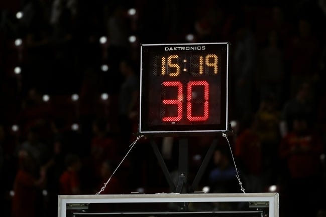 Oklahoma, like most states, follows the National Federation of State High School Association guidelines, or NFHS, which does not include a shot clock. Arkansas, however, received approval from the NFHS last April to begin using a 35-second shot clock in all Class 6A competition this year. [AP Photo/Patrick Semansky]