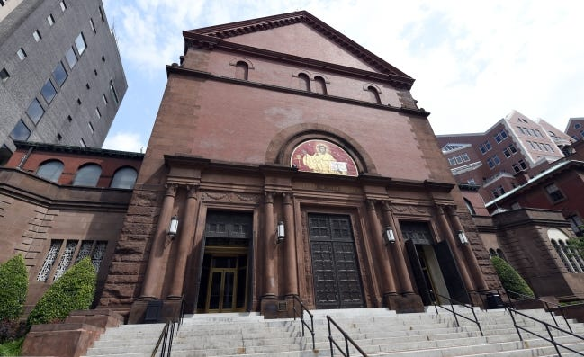 This is a 2015 view of the exterior of St. Matthew's Cathedral in Washington. [AP FILE PHOTO]