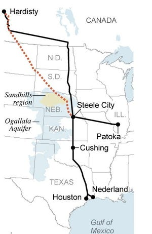 This map shows the Keystone pipeline system (in black), the hotly-contested Keystone XL proposed addition (in red) and areas environmentalists worry the Keystone XL could threaten. [ASSOCIATED PRESS]