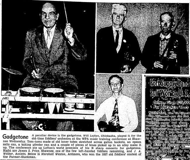 A photo highlighted Will Lofton's unusual gadgetone musical instrument on Nov. 20, 1941, in The Daily Oklahoman.