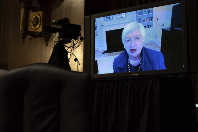 Treasury Secretary-nominee Janet Yellen appears virtually during a confirmation hearing Tuesday before the Senate Finance Committee on Capitol Hill. [Anna Moneymaker/The New York Times via AP, Pool]