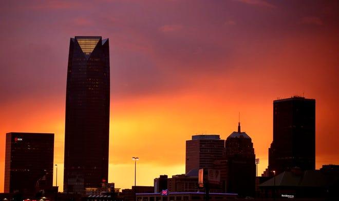 The sun sets behind the Oklahoma City skyline as a storms approach the Oklahoma City metro area, Wednesday, Sept. 2, 2020. Photo by Sarah Phipps, The Oklahoman