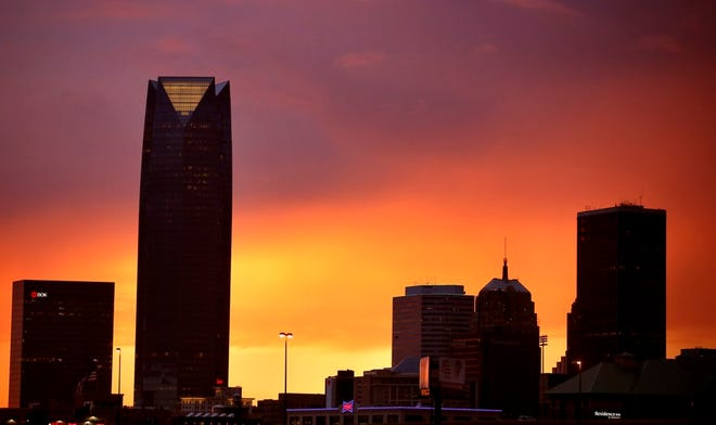 The sun sets behind the Oklahoma City skyline as a storms approach the Oklahoma City metro area, Wednesday, Sept. 2, 2020. Photo by Sarah Phipps, The Oklahoman