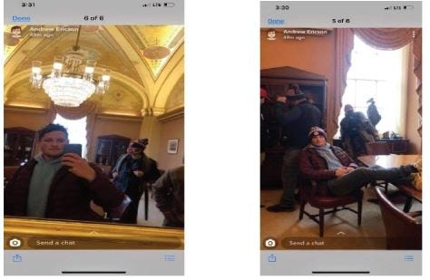 The FBI alleged in a court affidavit that these photos inside the U.S. Capitol Jan. 6 are of Andrew Craig Ericson of Muskogee. [Snapchat screengrab]