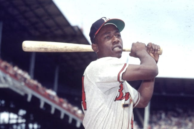 Milwaukee Braves outfielder Hank Aaron poses for a photo at Ebbets Field before an exhibition game in 1954. The former home run champion died Friday peacefully in his sleep. [AP Photo, File]