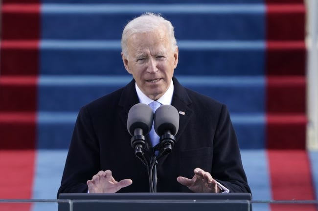 In this Wednesday, Jan. 20, 2021 file photo, President Joe Biden speaks during his inauguration at the U.S. Capitol. [AP Photo]