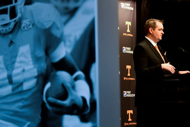 Josh Heupel speaks during a news conference Wednesday in Knoxville, Tenn. [Caitie McMekin/The Knoxville News-Sentinel]