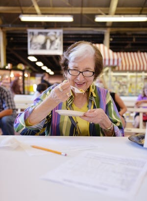 Melba Lovelace judges food at the Oklahoma State Fair, Saturday, September 23, 2017. Photo by Jackie Dobson, for The Oklahoman