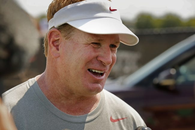 Sooner defensive coordinator Mike Stoops talks with the media following college football practice for the University of Oklahoma Sooners (OU) at the rugby fields in Norman, Okla., on Thursday, Aug. 3, 2017. Photo by Steve Sisney, The Oklahoman
