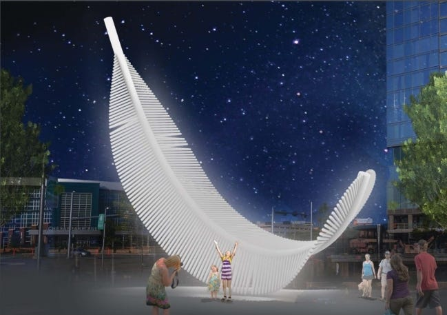 The revised sculpture for Scissortail Park, Taking Flight: Light as a Feather, is set to be completed by spring 2022. The feathers will be illuminated with 276 integrated fiber optics with LED lamps. [STUDIOKCA]