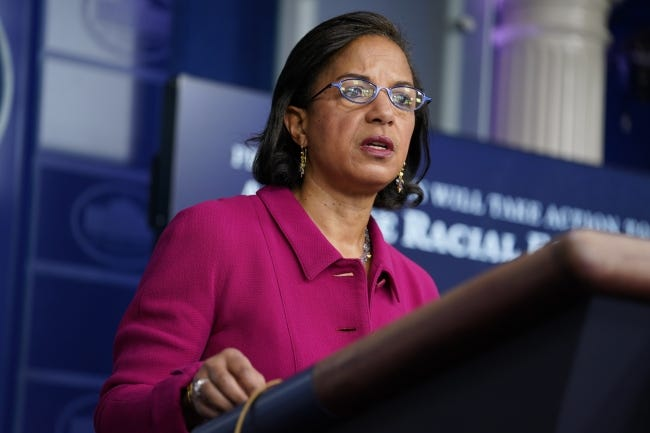 White House Domestic Policy Adviser Susan Rice speaks during a press briefing at the White House on Tuesday. [AP Photo/Evan Vucci]