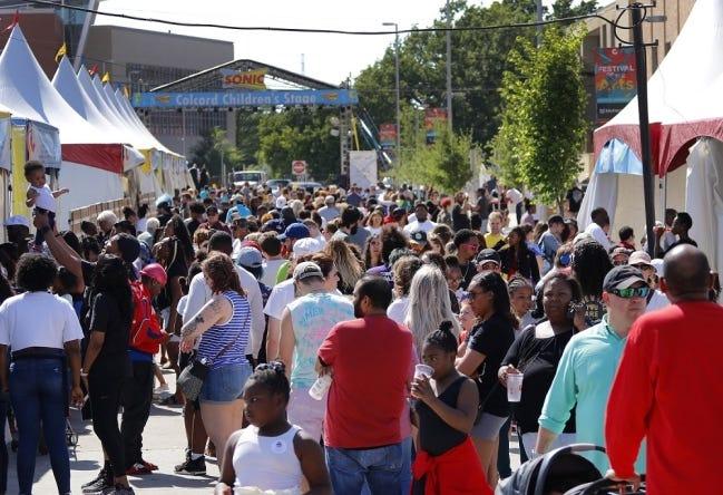 Food row at the 2019 Festival of the Arts in Oklahoma City's Bicentennial Park. [Doug Hoke/The Oklahoman]