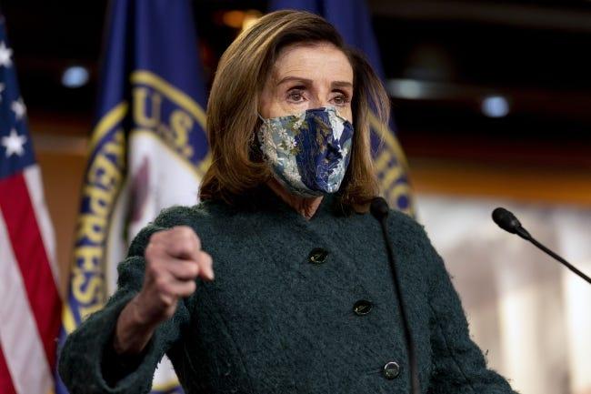 House Speaker Nancy Pelosi speaks at a news conference on Capitol Hill in Washington, Thursday, Jan. 28, 2021. (AP Photo/Andrew Harnik)