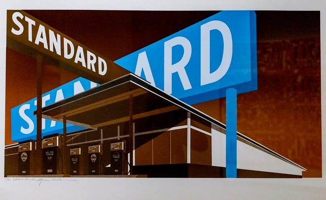 """The art piece """"Double Standard"""" by artists Ed Ruscha and Mason Williams is on view in the """"OK/LA"""" exhibit at Fred Jones Jr. Museum in Norman, Okla. on Friday, Oct. 2, 2020. The exhibit features work by Oklahoma artists Patrick Blackwell, Joe Goode, Jerry McMillan, Ed Ruscha, Paul Ruscha and Mason Williams. These six friends came of age in the 1950s and '60s in the Oklahoma City metro area and subsequently moved to California to follow their individual artistic paths. [Chris Landsberger/The Oklahoman]"""