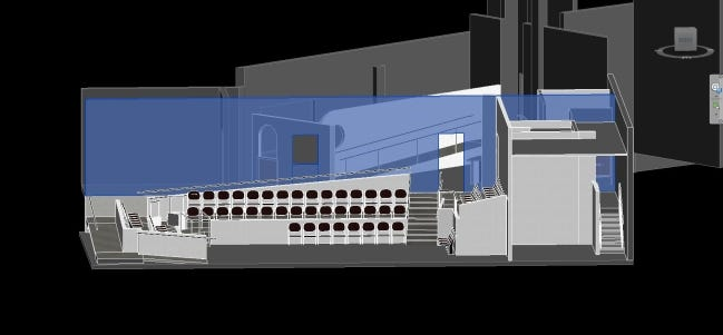A 3-D drawing shows the renovation plans underway at Oklahoma Shakespeare in the Park's expanded Paseo Arts District's expanded space, which will include an improved theater, new box office and lounge and enhanced lobby and backstage area. [HSEarchitects drawing]