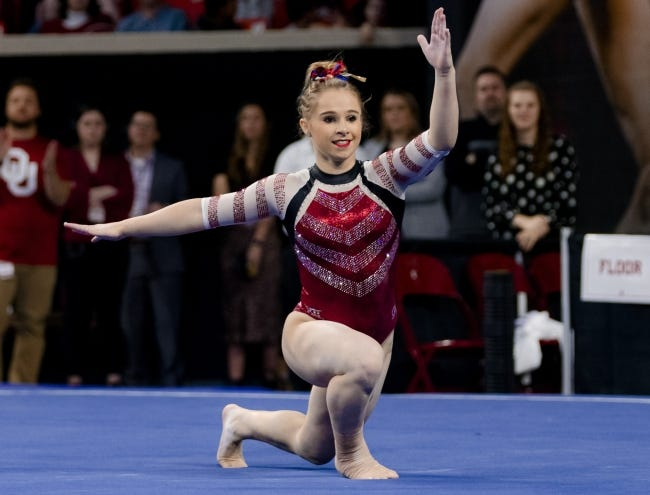 OU's Ragan Smith competes in the floor routine during a meet against Arkansas last January. [Chris Landsberger/The Oklahoman]